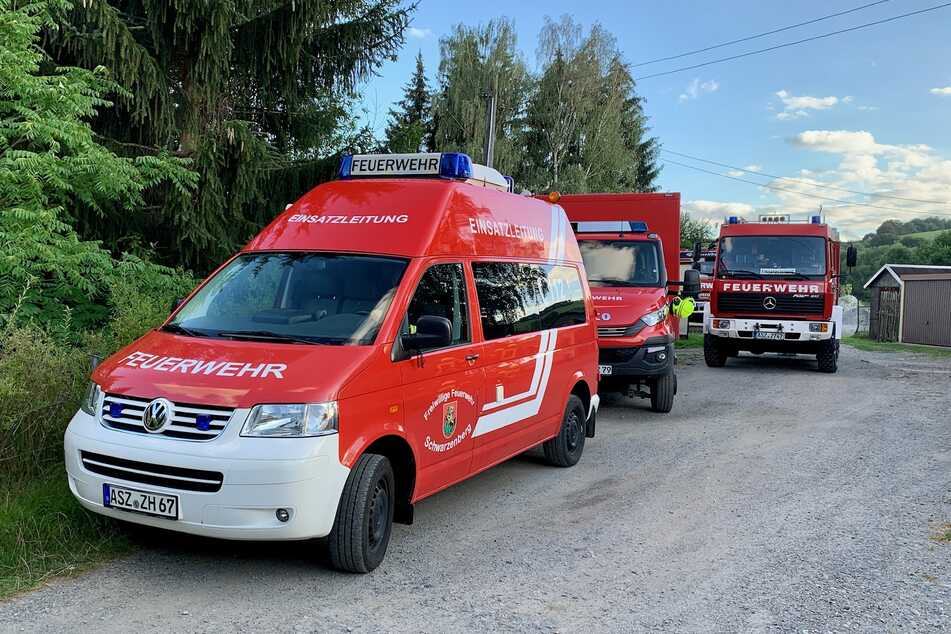 Neben der Schwarzenberger Feuerwehr waren auch die Wehren aus Grünstädtel und Pöhla im Einsatz.