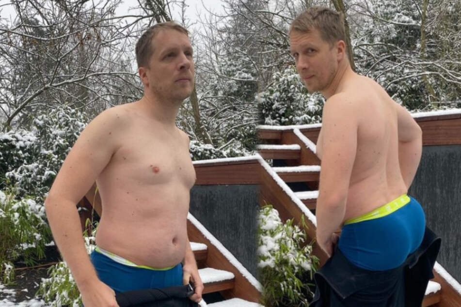 Wer kann da wegschauen? Oliver Pocher posiert im Schnee