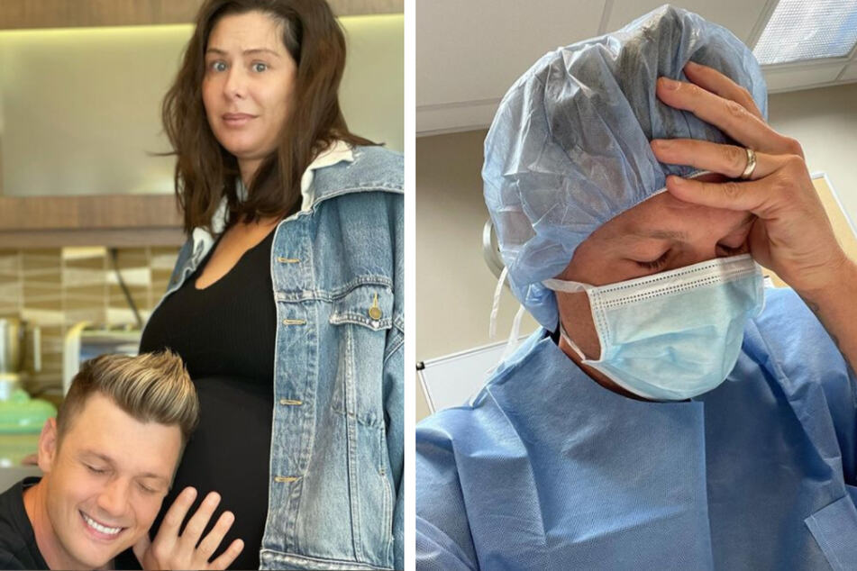 Nick posted his latest photo with his wife, who is nine months pregnant, on Monday (l.). On Wednesday, he posted a photo of himself in a hospital gown (r.).