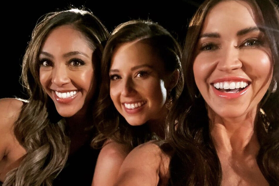 Katie Thurston (c.), will have the on-sight support of Tayshia Adams (l.), and Kaitlyn Bristowe (r.) throughout her journey as The Bachelorette,