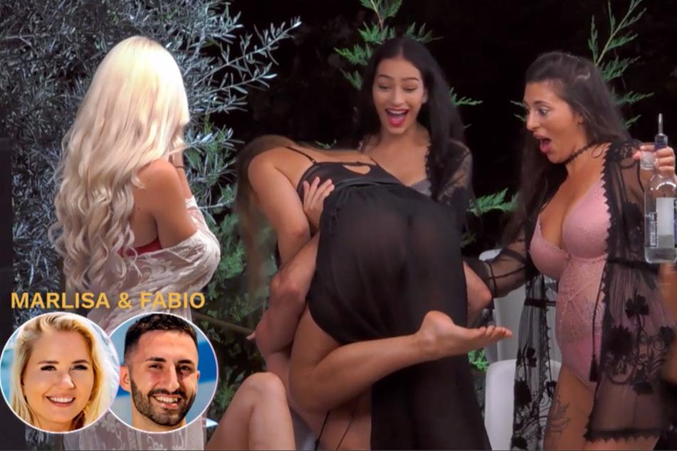 Fabio hebt eine Dame in Dessous hoch, um an den Wodka-Shot aus dem Glas zwischen ihren Brüsten zu kommen.