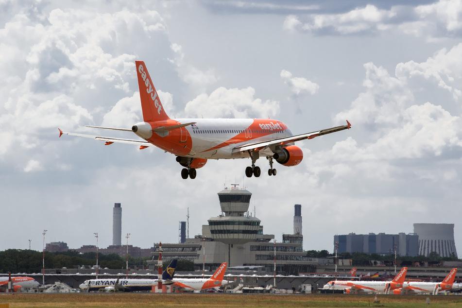 Ein Flugzeug der Fluggesellschaft easyJet landet auf dem Flughafen Tegel.