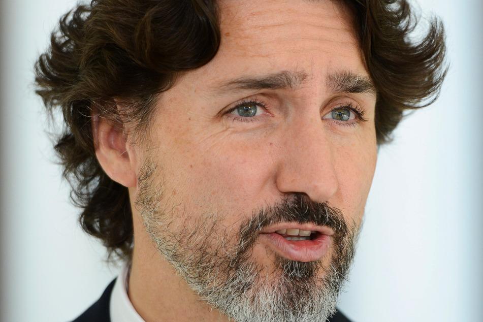 Justin Trudeau, Premierminister von Kanada, spricht während einer Pressekonferenz zur Coronavirus-Pandemie im Rideau Cottage in Ottawa.