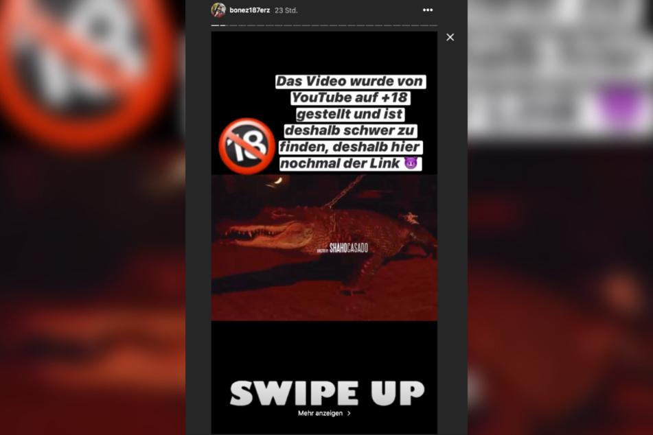 Bonez MC macht seine Fans in seiner Instagram-Story auf den Link zum gesperrten Video aufmerksam.