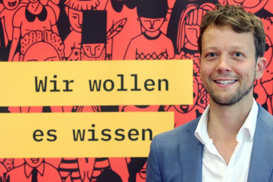 """Michael Bohmeyer (36), Initiator des Vereins """"Mein Grundeinkommen"""", bei einer Pressekonferenz zur neuen Langzeitstudie über das bedingungslose Grundeinkommen."""