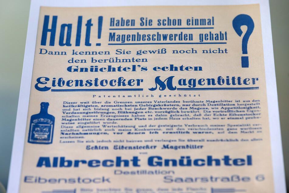 Eine alte Werbung für den Magenbitter zeigt: Früher galt das alkoholische Getränk als Medizin.