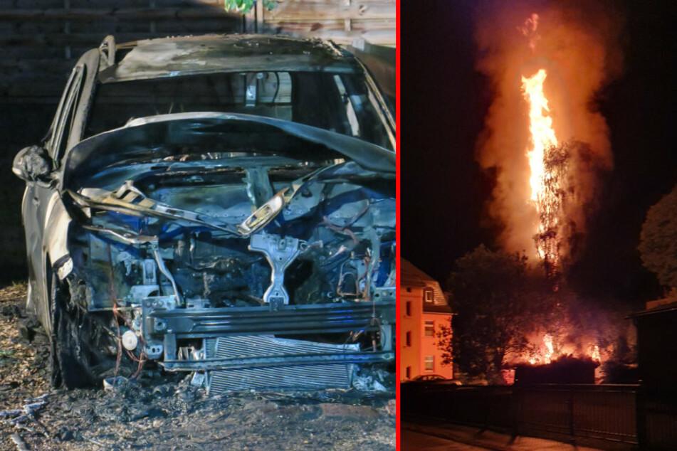 Meterhohe Flammen im Erzgebirge: Auto und Schuppen brennen