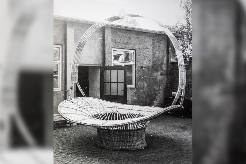 Für die Stadthalle baute Günter Jahn Anfang der Siebziger diesen riesigen Blumenkorb.