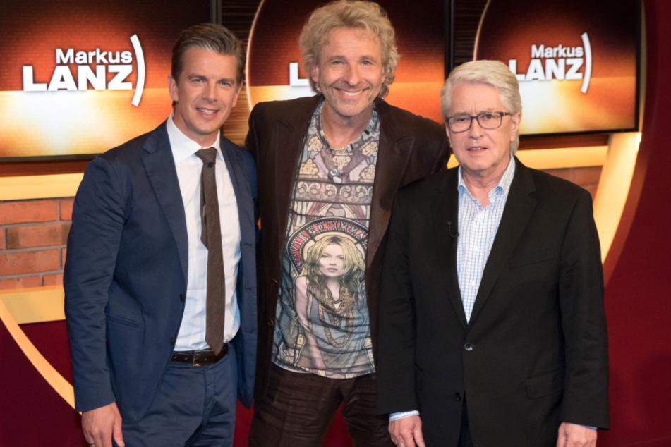 """Markus Lanz (l-r), Thomas Gottschalk und """"Wetten, dass..?""""-Erfinder Frank Elstner im Jahr 2015."""