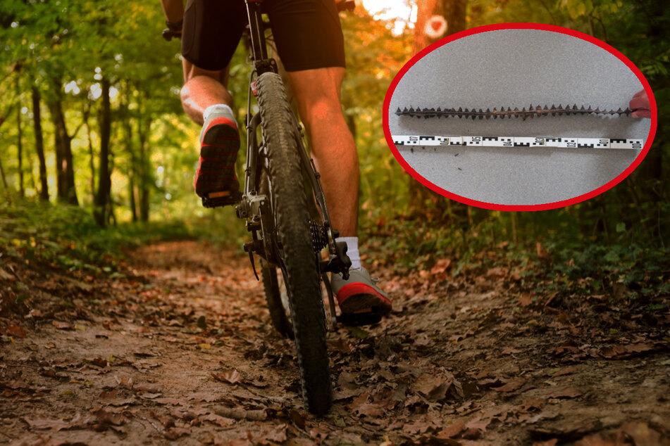 Dieses gefährliche Metallteil wurde auf einem Waldweg ausgelegt. Die Polizei geht davon aus, dass damit Mountainbiker zum Sturz gebracht werden sollten.