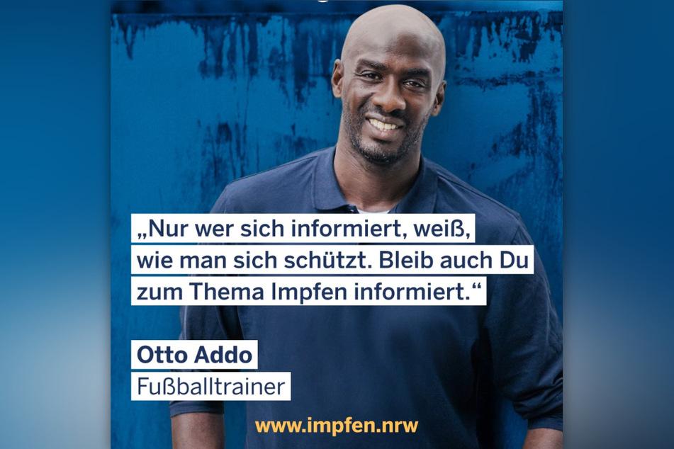 Fußballtrainer Otto Addo (46) setzt sich in einer neuen Werbekampagne der Landesregierung Nordrhein-Westfalen für das Impfen gegen Covid-19 ein.