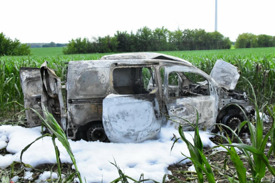 Das ausgebrannte Auto steht in einem Feld, umgeben von Löschschaum.