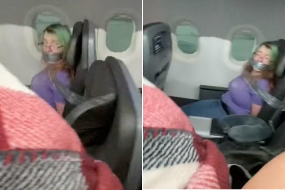 Ein virales Video auf der Plattform TikTok zeigt eine Frau im Flugzeug, welche an ihrem Sitz festgeklebt ist.