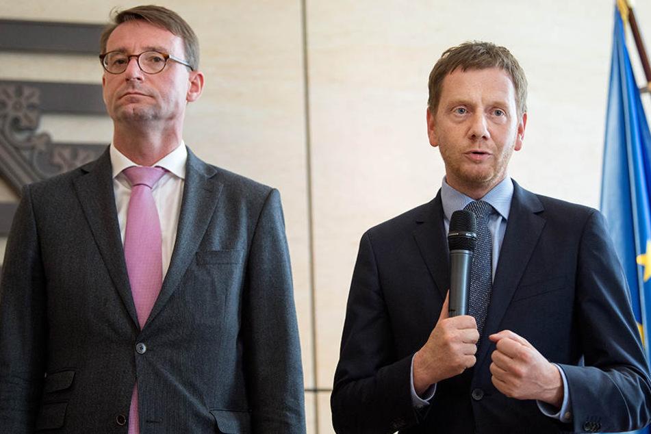 Sachsens Ministerpräsident Michael Kretschmer (CDU, re) und Roland Wöller (CDU), Innenminister von Sachsen, äußerten sich im Mai zum Thema Ankerzentren für Flüchtlinge.