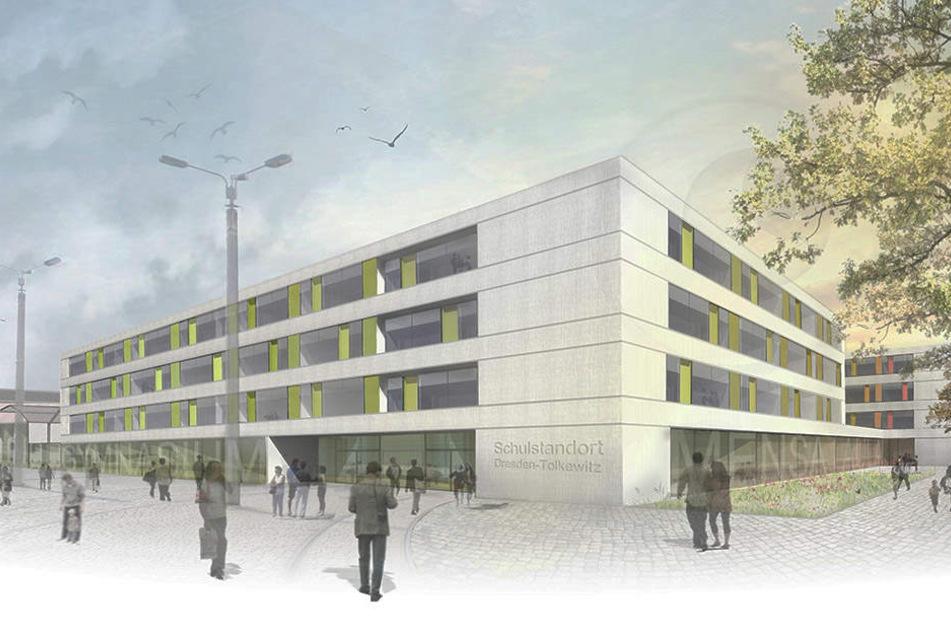 So soll künftig der Schulstandort in Tolkewitz aussehen.
