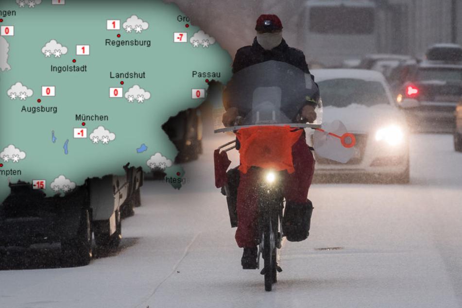 Am Freitag wird es in Bayern schneien. (Bildmontage)