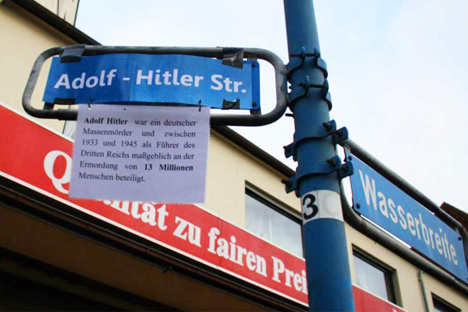 Die Bahnhofstraße in Bünde wurde von Unbekannten zur Adolf-Hitler-Straße umbenannt.