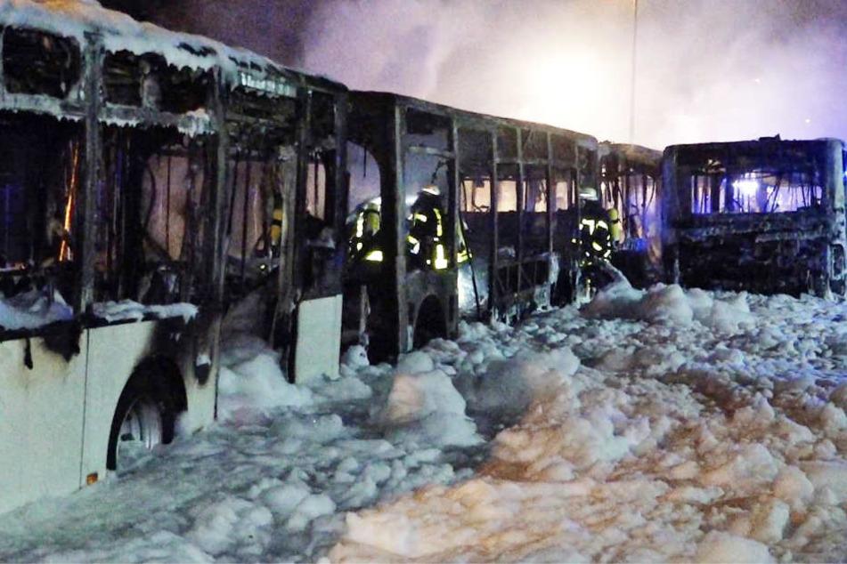 Von den Bussen blieben nur verkohlte Skelette übrig.