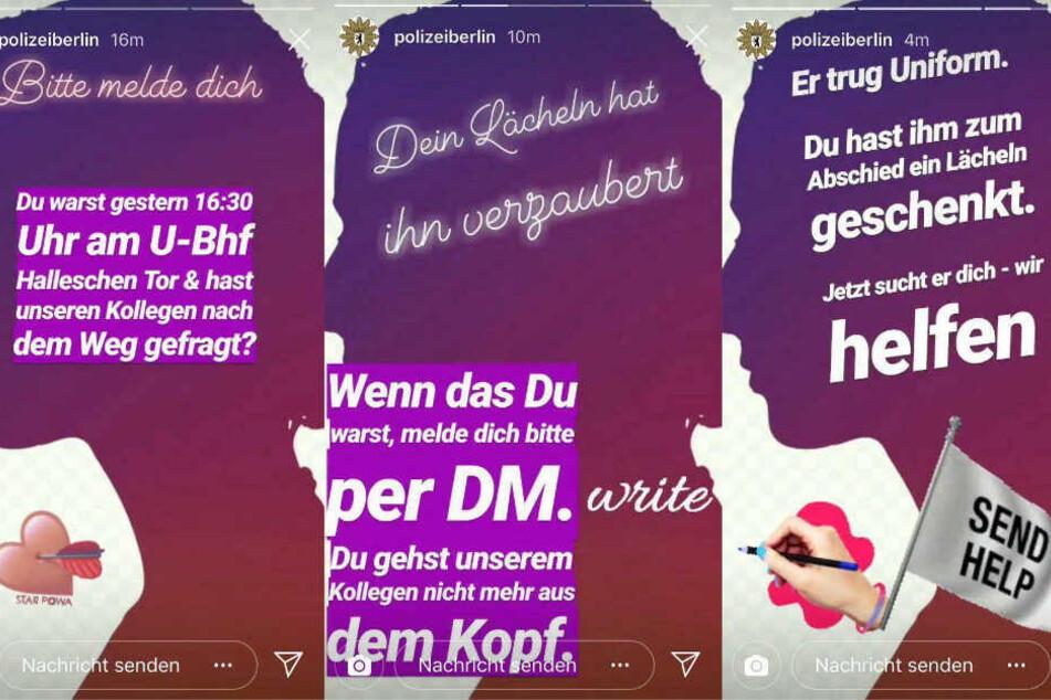 Die Polizei Berlin sucht in dieser Instagram-Story nach der unbekannten Frau.