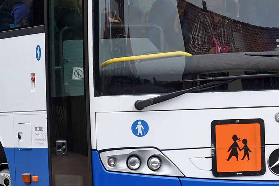 Ungefähr 40 Schulkinder saßen im Bus, als dieser von dem LKW seitlich angefahren wurde.