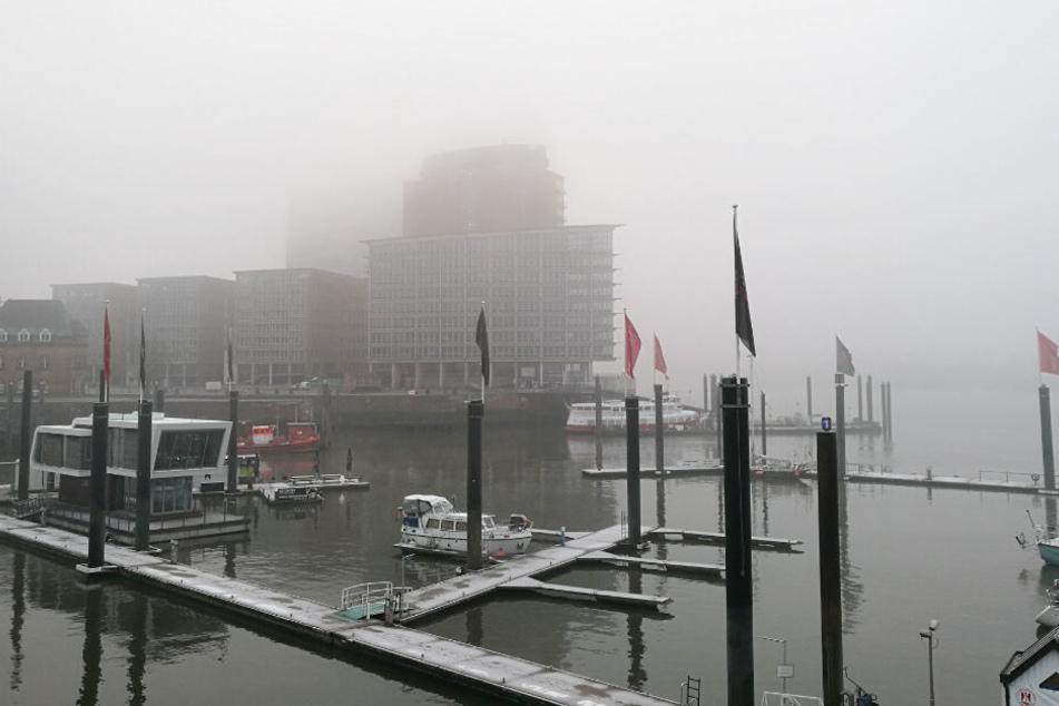 Das Wetter zeigte sich am Sonntag am Hamburger Hafen größtenteils neblig trüb. Die Elbphilharmonie ist zwischen den Nebelschwaden nur zu erahnen.