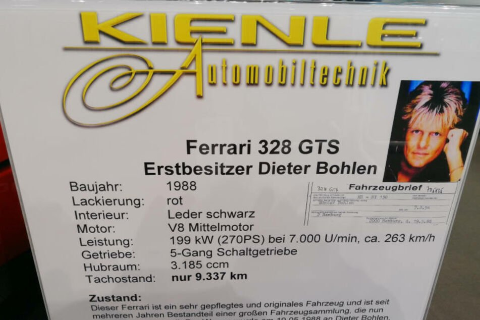 """Der Ferrari 328 GTS, erstmalig zugelassen auf Dieter Bohlen im Mai 1988, wird von Kienle Automobiltechnik auf der """"Retro Classics"""" zum Verkauf angeboten."""