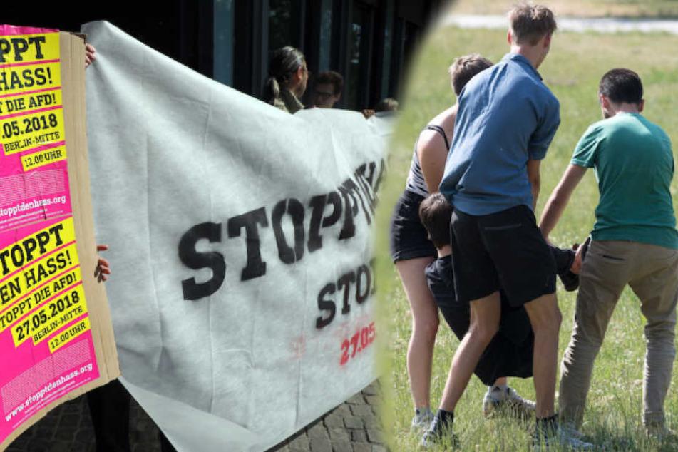 Berliner Linksaktivisten trainierten am Freitag, wie man sich bei Sitzblockaden möglichst störrisch verhält.