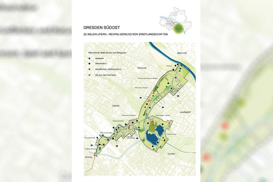 Ein Grünstreifen (140 Hektar) soll Prohlis mit dem Elbufer verbinden, Natur- und Erholungsraum werden.