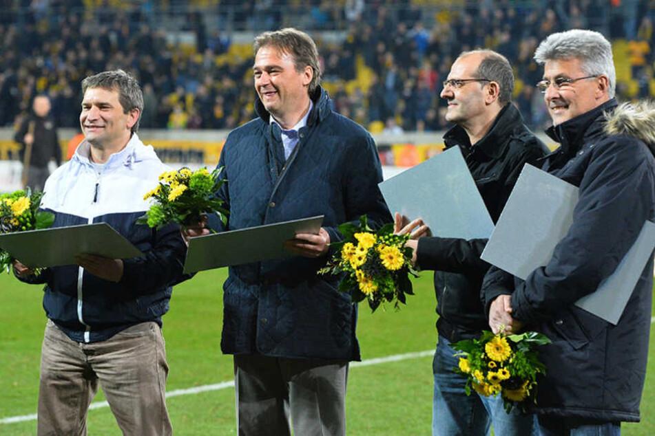 """""""Klassentreffen"""" von Dynamos  Bundesliga-Profis: Andreas Diebitz, Steffen Büttner, Sergio Allievi und René Müller (v.l.n.r.)."""