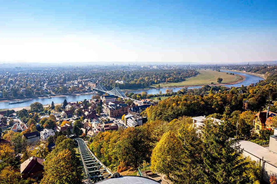 Die Elbe, das Blaue Wunder, viel Grün: Von der Bergstation der Schwebebahn aus zeigt sich Dresden von einer seiner schönsten Seiten.