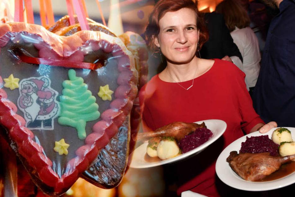 Katja Kipping, Vorsitzende der Partei die Linke, seviert beim traditionellen Weihnachtsessen für Obdachlose. (Bildmontage)