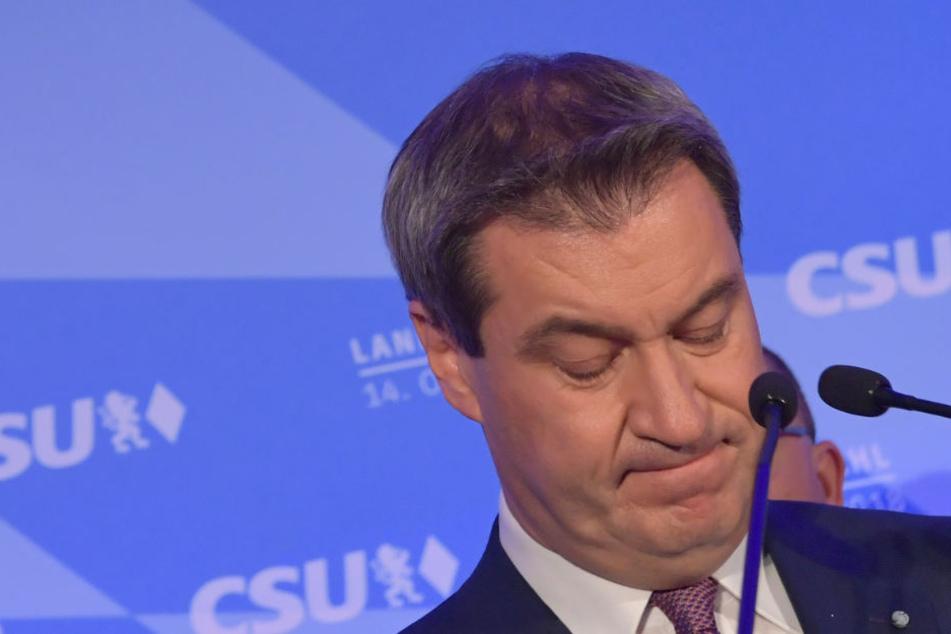 Markus Söder kann mit dem Wahlergebnis der CSU nicht zufrieden sein.