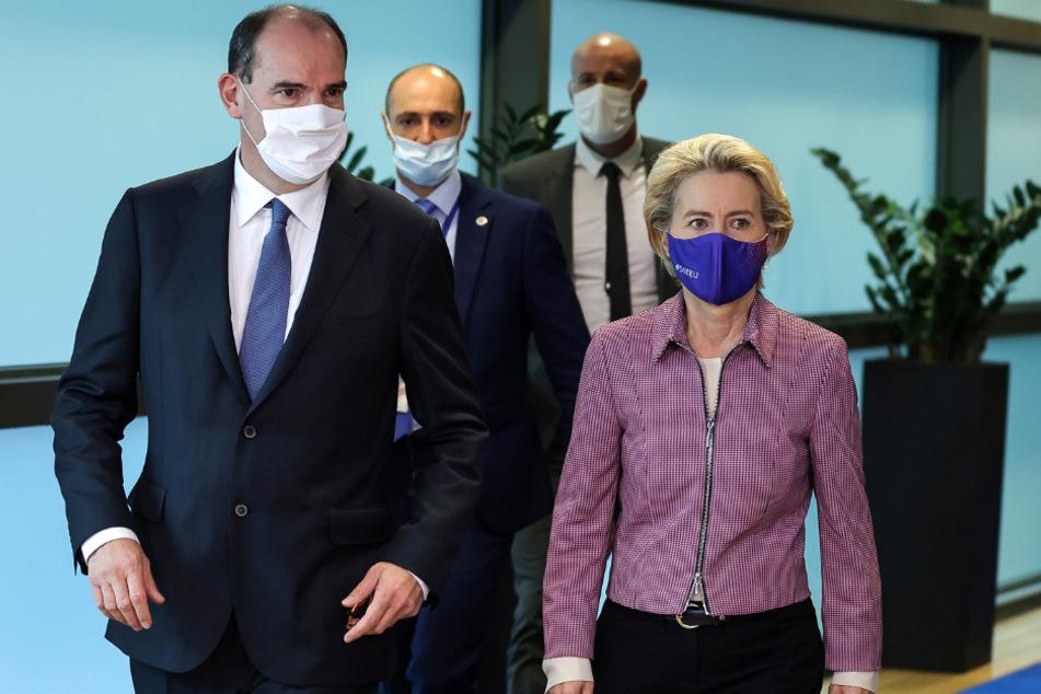 Brüssel: Ursula von der Leyen, Präsidentin der Europäischen Kommission, und Jean Castex, Premierminister von Frankreich, kommen zu einem gemeinsamen Treffen im EU-Hauptsitz.