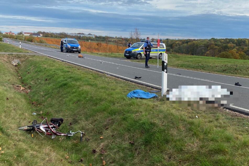 Tödlicher Unfall auf der S44 bei Leisnig: Ein Radfahrer (85) wurde von einem Auto erfasst.