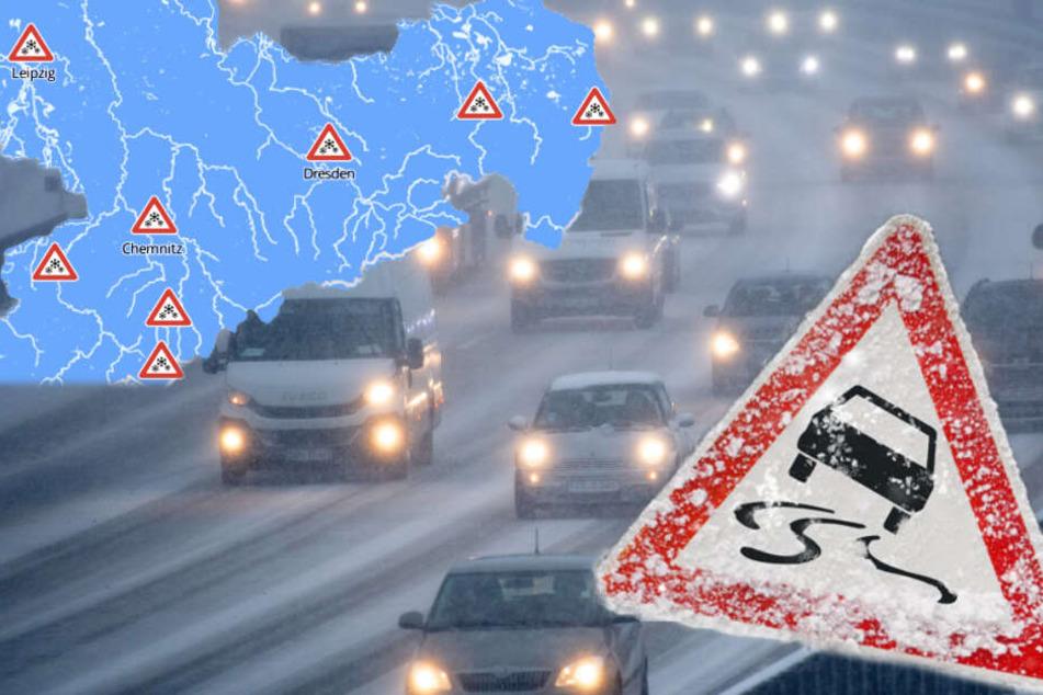 Sachsen: Wetterdienst warnt vor Glatteis und Orkanböen