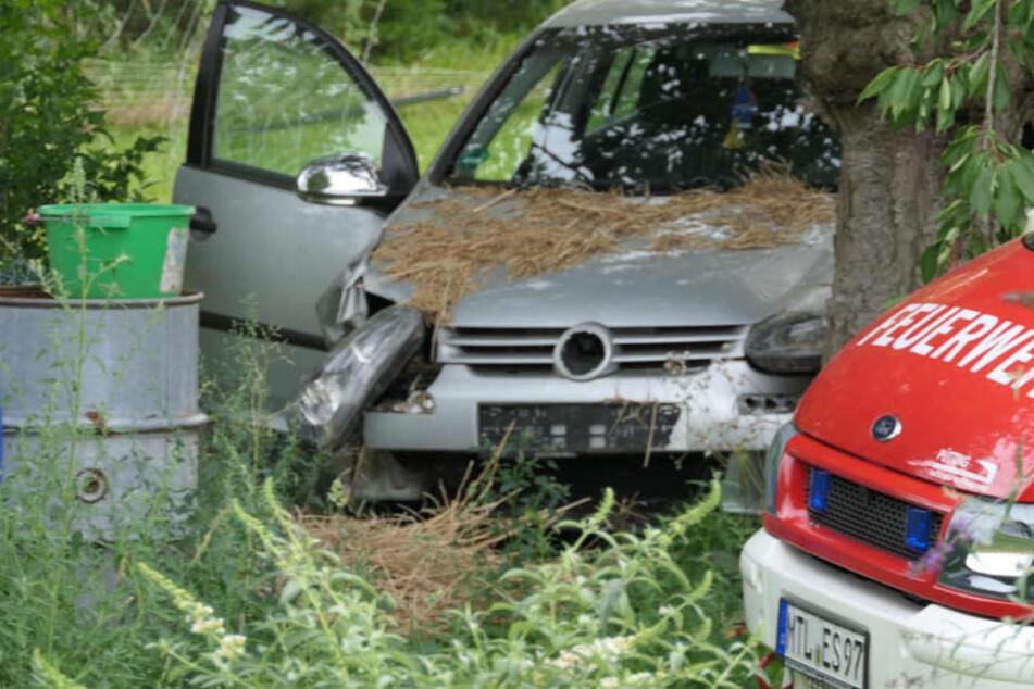 Auto rast über Feld und kracht gegen Baum, Fahrer muss reanimiert werden