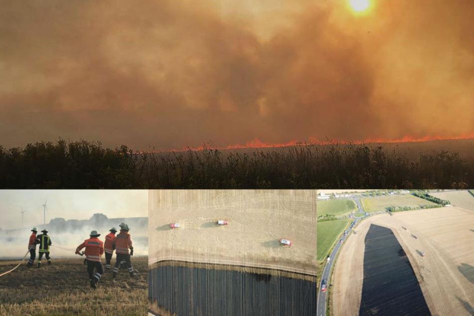 Neben der Feuerwehr halfen auch Landwirte bei den Löscharbeiten