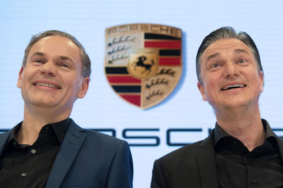Oliver Blume, Vorstandsvorsitzender (links im Bild) und Lutz Meschke, Finanzvorstand der Porsche AG.