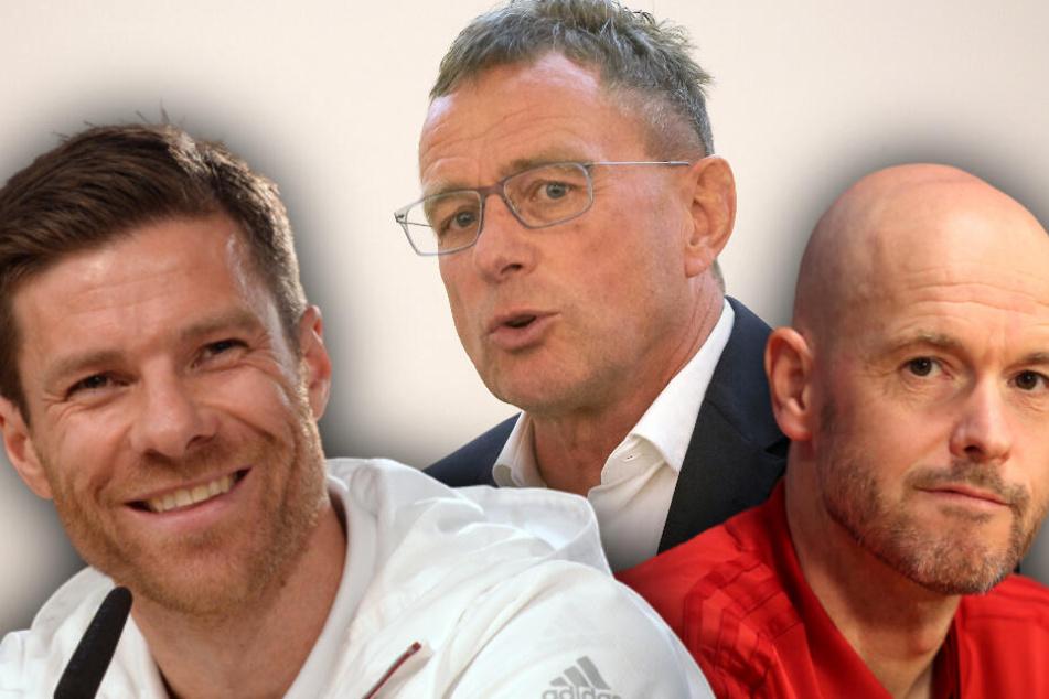 Xabi Alonso, Ralf Rangnick oder Erik ten Hag (l.-r.) könnten Trainer beim FC Bayern werden. (Bildmontage)