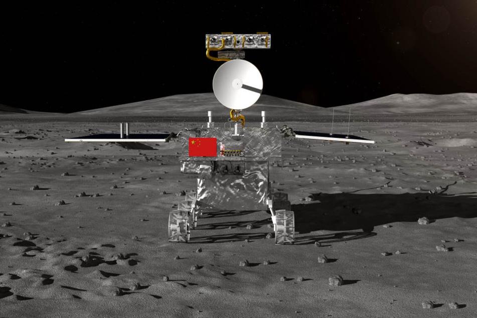 """Ein Computerrendering zeigt den noch unbenannten Rover der chinesischen Mondsonde """"Chang'e 4"""" auf dem Mond."""