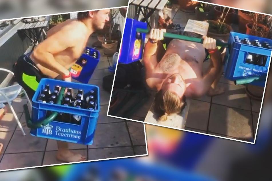 Mit Bier zum gestählten Body: Spieler der Munich Cowboys zeigen sich kreativ