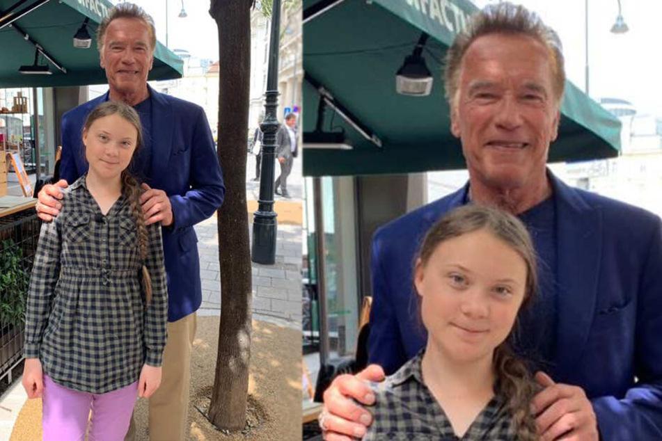 Vereint im Kampf gegen den Klimawandel: Arnold Schwarzenegger und Greta