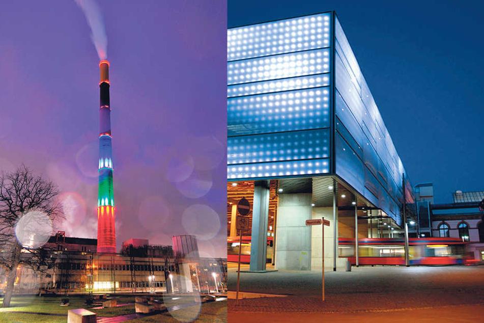 Unser Lulatsch erstrahlt bald in bunten Farben. Beim Hauptbahnhof dauert's noch  etwas. Grau und Schwarz: So sieht die LED-Fassade am Hauptbahnhof derzeit jeden Abend  aus.