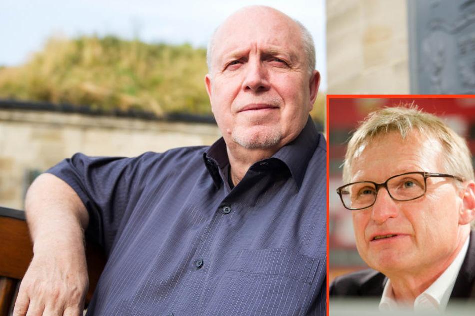 """""""Michael hatte ursprünglich schon eher den Traum, auf den Spuren eines Christoph Daum zu wandeln"""": Reiner Calmund (links) über Michael Reschke (kleines Foto)."""