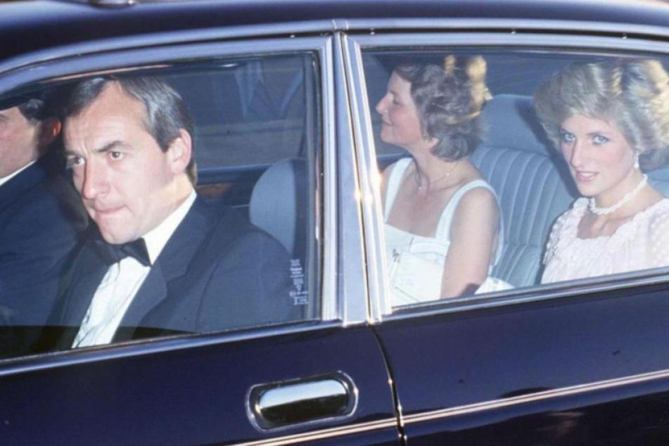 Barry Mannakee im Wagen mit Diana. Er starb 1987 bei einem tragischen Motorrad-Unfall.
