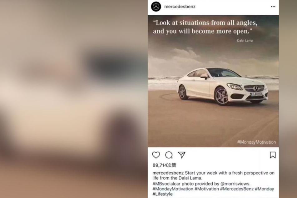 """""""Betrachte Situationen von allen Seiten und Du wirst offener"""": Dieser Instagram-Beitrag zog Kritik chinesischer User nach sich."""