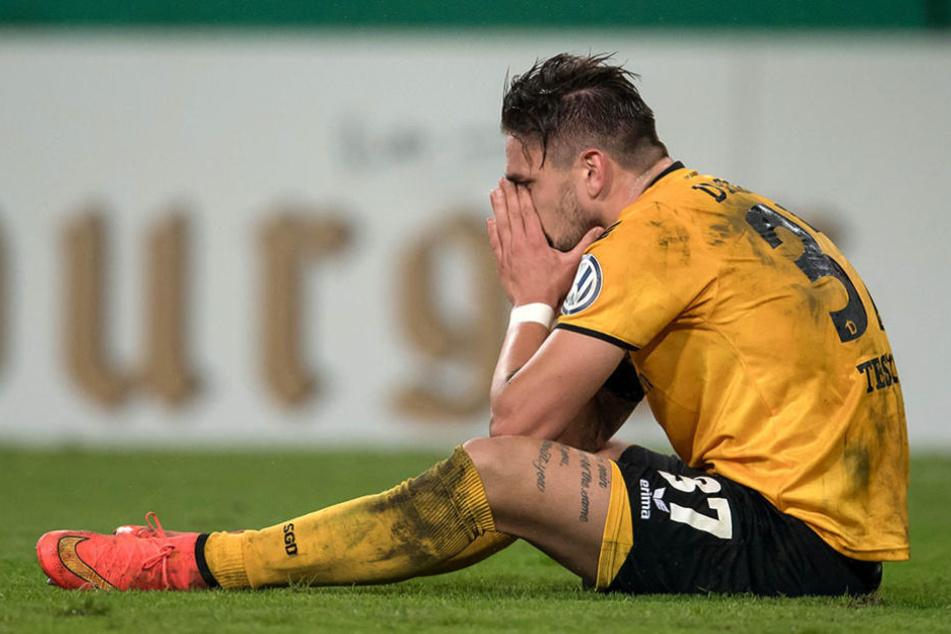 Pascal Testroet beim Pokal-Aus gegen seinen Ex-Verein Arminia Bielefeld.