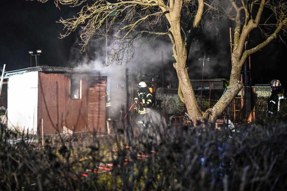 Die Gartenlaube in Eibau wurde durch das Feuer stark beschädigt.