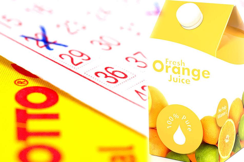 Vom Geld für eine Packung Orangensaft wurde das Los des glücklichen Gewinners gekauft.