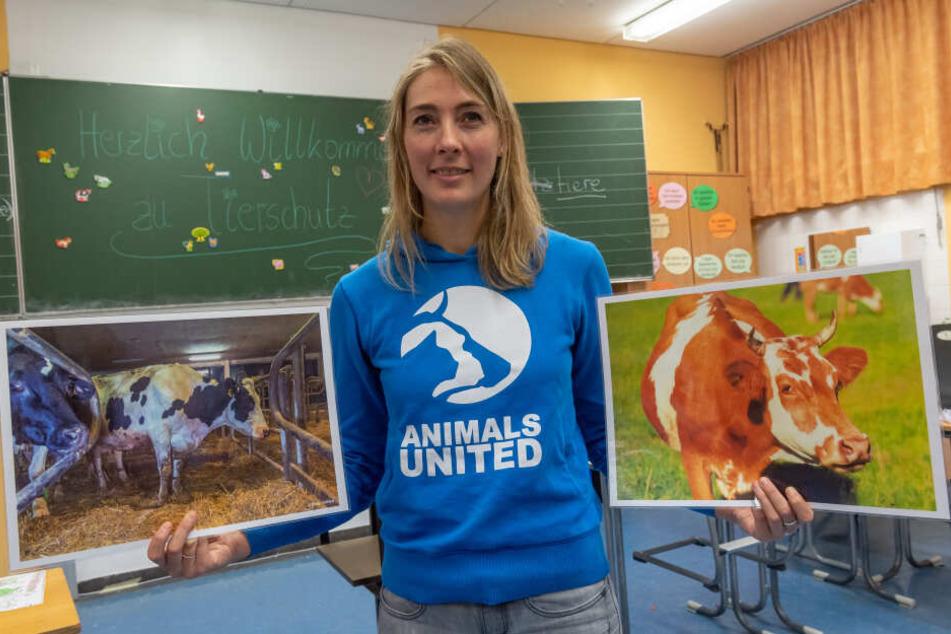 Melanie Reiner, Geschäftsführerin Animals United, zeigt, wie Kühe in Deutschland gehalten werden können.